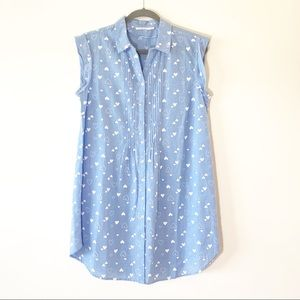 MonoPrix Femme Blue Chambray Sleeveless Shirt 38
